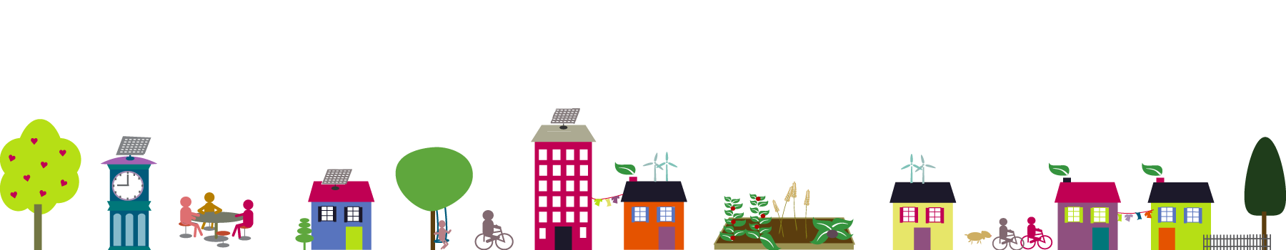 resilient neighbourhood graphic of buildings, trees, and community garden