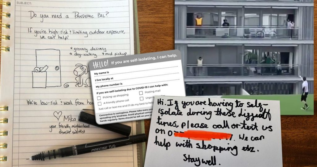 Some notes and videos, spread out over a table, with examples of neighbourly behaviour.