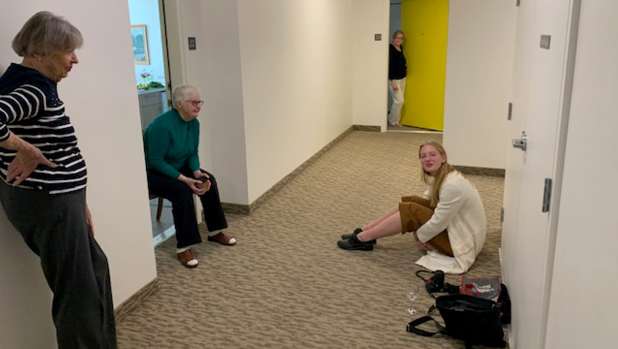 Physical distancing with seniors in a home.