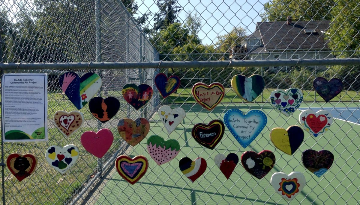 Messages of caring on a fence in a Saanich park.