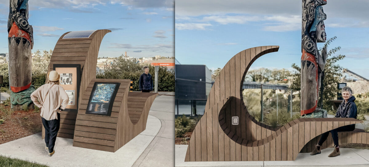 Two different views of the bench in Vicwest, a Neighbourhood Hub project.